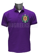 Omega Psi Phi Large Crest Polo Shirt, Purple