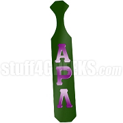 Alpha Rho Lambda Greek Letter Paddle with Green Glossy Wood