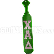 Chi Alpha Delta Greek Letter Paddle with Kelly Green Glossy Wood
