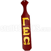 Gamma Epsilon Omega Greek Letter Paddle with Red Glossy Wood