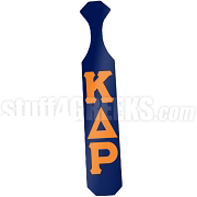 Kappa Delta Rho Paddle with Glossy Navy Blue Wood and Reflective Orange Letters