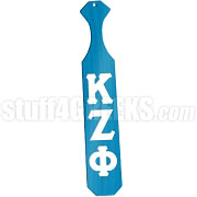 Kappa Zeta Phi Greek Letter Paddle with Aqua Blue Glossy Wood