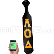 Lambda Omicron Delta Greek Letter Paddle with Black Glossy Wood