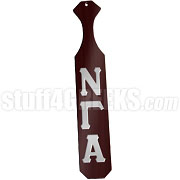 Nu Gamma Alpha Greek Letter Paddle with Maroon Glossy Wood