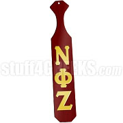 Nu Phi Zeta Greek Letter Paddle with Crimson Glossy Wood
