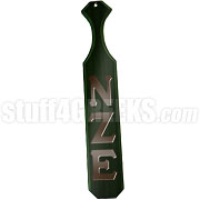 Nu Zeta Epsilon Greek Letter Paddle with Forest Green Glossy Wood