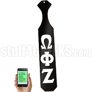 Omega Phi Zeta Greek Letter Paddle with Black Glossy Wood