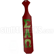 Sigma Alpha Omega Greek Letter Paddle with Crimson Glossy Wood