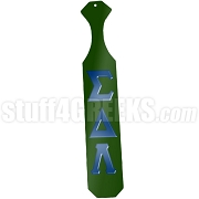 Sigma Delta Lambda Greek Letter Paddle with Forest Green Glossy Wood