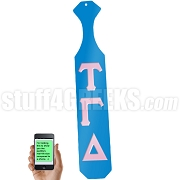 Tau Gamma Delta Greek Letter Paddle with Light Blue Glossy Wood