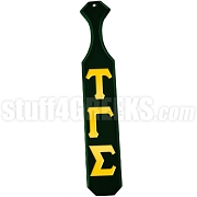 Tau Gamma Sigma Greek Letter Paddle with Forest Green Glossy Wood