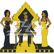 Alpha on Throne with Ladies Patch