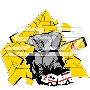 Elephant Bursting Through Pyramid Stepping on Ambulance Icon