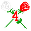 Number over Crossing Red Roses Patch