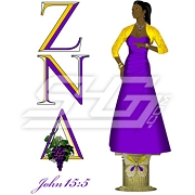 Zeta Nu Delta Greek Letter Icon with Lady on Pedestal
