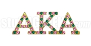 Alpha Kappa Alpha Greek Letter Lapel Pin with Swarovski Austrian Crystal, Gold (Multicolor-Pink/Green)