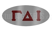 Gamma Delta Iota Oval Lapel Pin with Greek Letters, Gray