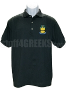 Acacia Polo Shirt with Crest, Black
