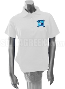 Alpha Beta Sigma Polo Shirt with Crest, White