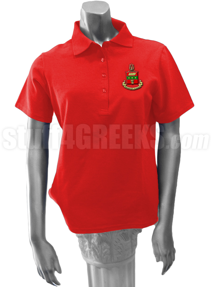 Alpha Chi Omega Polo Shirt with Crest, Red