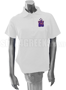 Alpha Delta Chi Polo Shirt with Crest, White