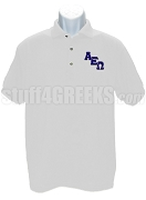Alpha Epsilon Omega Polo Shirt with Logo Letters, White