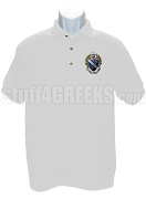Alpha Gamma Omega Polo Shirt with Crest, White