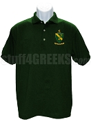 Alpha Gamma Rho Polo Shirt with Crest, Forest Green