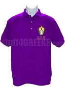 Alpha Kappa Lambda Polo with Greek Letters and Crest, Purple