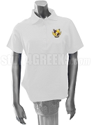 Alpha Nu Omega Ladies' Polo Shirt with Crest, White