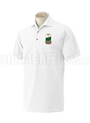 Alpha Omega Theta Christian Fraternity Polo Shirt with Crest, White