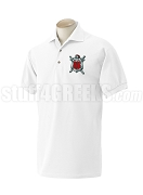 Alpha Omega Theta Polo Shirt with Crest, White
