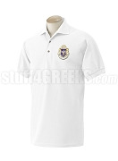 Alpha Phi Delta Polo Shirt with Crest, White