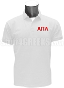 Alpha Pi Lambda Polo Shirt with Greek Letters, White
