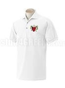 Alpha Rho Delta Polo Shirt with Crest, White