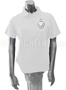 Alpha Sigma Tau Polo Shirt with Crest, White
