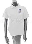 Alpha Sigma Theta Polo Shirt with Crest, White