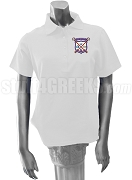 Alpha Sigma Upsilon Ladies' Polo Shirt with Crest, White