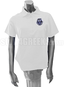 Alpha Zeta Omega Ladies' Polo Shirt with Crest, White