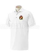 Beta Gamma Nu Polo Shirt with Crest, White