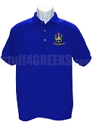 Beta Omega Phi Polo Shirt with Crest, Royal Blue