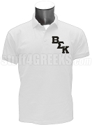 Beta Sigma Kappa Polo Shirt with Logo Letters, White