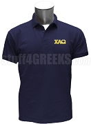 Chi Alpha Omega Polo Shirt with Logo Letters, Navy Blue