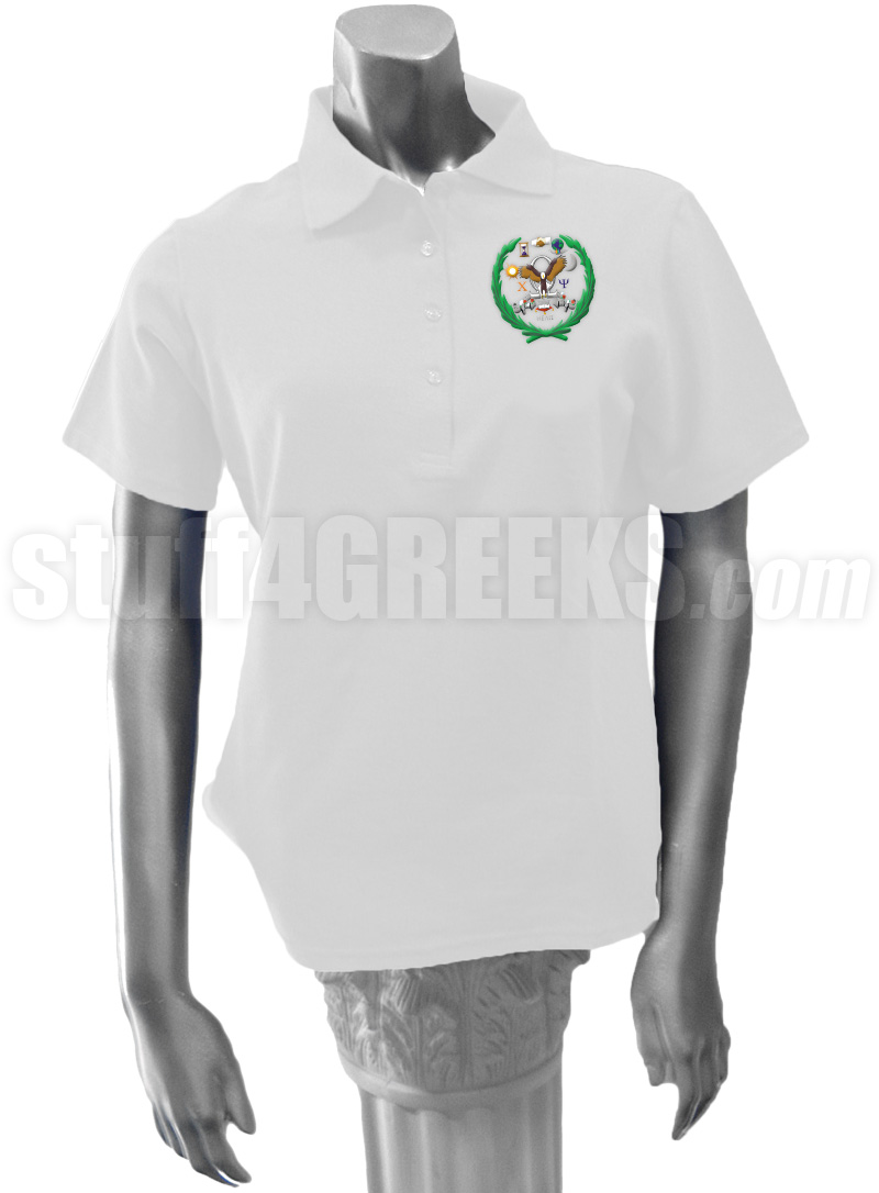 Chi Omega Psi Polo Shirt with Crest, White