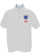 Chi Phi Polo with Greek Letters and Crest, White