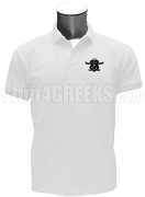 Chi Upsilon Zeta Polo Shirt with Crest, White
