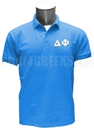 Delta Phi Polo Shirt with Greek Letters, Columbia Blue