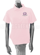 Delta Phi Psi Polo Shirt with Crest, Pink