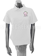 Delta Phi Sigma Polo Shirt with Crest, White