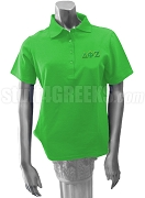 Delta Phi Zeta Ladies' Polo Shirt with Greek Letters, Kelly Green